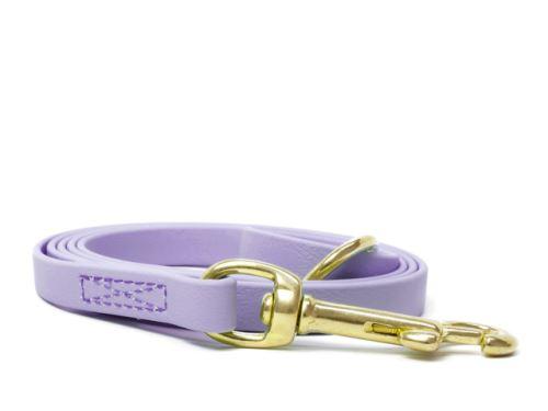 Biothane_leash_9_13mm_sewn_pastel_purple_brass_snap_hook_small_web